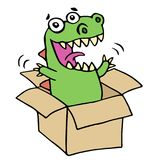 Funny dinosaur jumped out of the box. Vector illustration. Royalty Free Stock Images