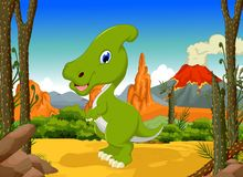 Funny Dinosaur Parasaurolophus cartoon with forest landscape background Stock Photography