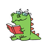 Funny dinosaur sits and reads a book. Vector illustration. stock images