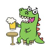 Funny dinosaur sitting with a mug of beer. Vector illustration. Stock Photography
