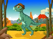 Funny Dinosaur Stegoceras cartoon with volcano landscape background Stock Image
