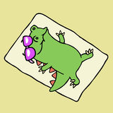Funny dinosaur sunbathing on the beach. Vector illustration. royalty free stock image
