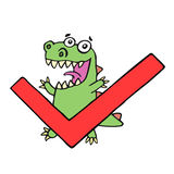 Funny dinosaur and tick. Vector illustration. royalty free stock photos