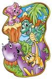 Funny dinosaurs Stock Photography