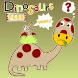 Funny dinosaurs cartoon vector. A baby pterodactyl on the brontosaurus back. Vector cartoon illustration, no mesh, vector on eps 10 Stock Photos