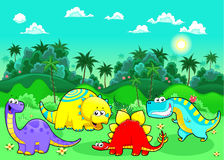 Funny dinosaurs in the forest. Stock Images