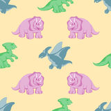Funny dinosaurs seamles background Royalty Free Stock Images