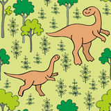 Funny dinosaurs seamless pattern. Childrens colorful seamless pattern with the image of funny dinosaurs Royalty Free Stock Photo