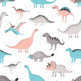 Funny dinosaurs seamless pattern. Cute childish dino background. Colorful hand drawn texture. Funny dinosaurs seamless pattern. Cute childish dino background Royalty Free Stock Photos