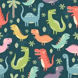 Funny dinosaurs seamless pattern. Great for textile, fabric, baby shower and birthday invitations. Vector illustration Royalty Free Stock Photography