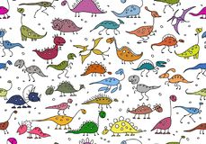 Funny dinosaurs, seamless pattern for your design. Vector illustration Royalty Free Stock Photography