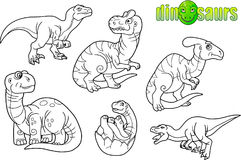 Funny dinosaurs, set of images Royalty Free Stock Photography