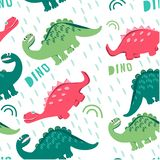 Funny dinosaurs walking in a clearing. Children`s fashion, print for fabrics, cards and books, for comics. Seamless patterns of co. Seamless pattern of colored vector illustration