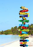 Funny direction signpost. With distance to many different countries stock images