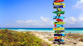 Funny direction signpost Stock Image