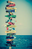 Funny direction signpost. With distance to many different countries royalty free stock photos