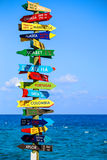 Funny direction signpost. With distance to many different countries on Mexican coastline Royalty Free Stock Images