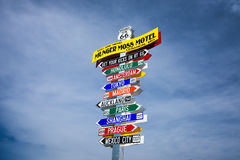 Funny direction signpost  in Lebanon, Missouri Royalty Free Stock Images