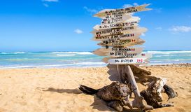 Funny direction signpost. With names of newlyweds Royalty Free Stock Images