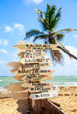 Funny direction signpost. With names of newlyweds Stock Images