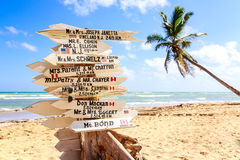 Funny direction signpost. With names of newlyweds Royalty Free Stock Photography