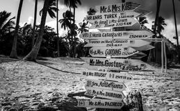 Funny direction signpost. With names of newlyweds Royalty Free Stock Photo