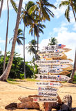 Funny direction signpost. With names of newlyweds Stock Photography
