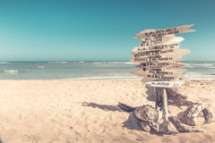 Funny direction signpost. With names of newlyweds Stock Photo