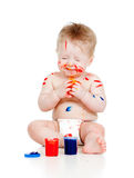 Funny dirty child with paints on white Royalty Free Stock Image