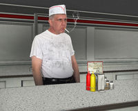 Funny Dirty Restaurant Cook, Chef Royalty Free Stock Images