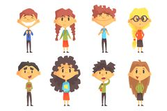 Funny disciples of elementary school. Cute boys and girls with backpacks on shoulders and books in hands. Flat vector royalty free illustration
