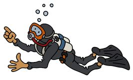 Funny diver. Hand darwing of a funny diver in a black neoprene Stock Images