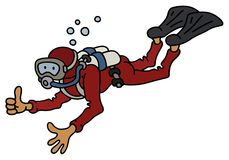 Funny diver. Hand darwing of a funny diver in a dark red neoprene Royalty Free Stock Images