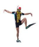 Funny diver in mask and flippers with garland Stock Image