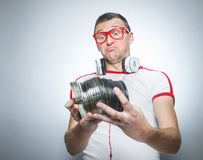 Funny dj with cds Royalty Free Stock Image
