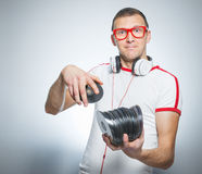 Funny dj with cds Royalty Free Stock Photo
