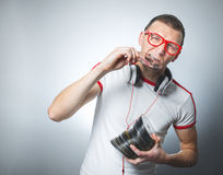 Funny dj with cds Stock Photo