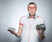 Funny dj over gray background Royalty Free Stock Image