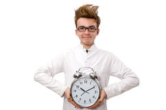 Funny doctor with alarm clock Stock Photo