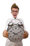 Funny doctor with alarm clock Stock Photography