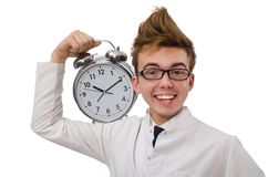 Funny doctor with alarm clock Stock Photos