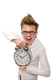 Funny doctor with alarm clock Royalty Free Stock Photography