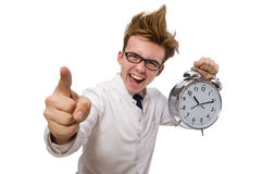 Funny doctor with alarm clock Royalty Free Stock Photos