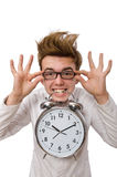 Funny doctor with alarm clock isolated on the Stock Photo