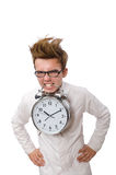 Funny doctor with alarm clock isolated on the Royalty Free Stock Photography