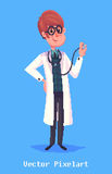 Funny doctor character.  on violet background. Vector illustration. Stock Photo