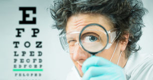 Funny doctor ophthalmologist Stock Photo
