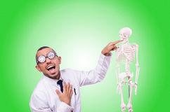 Funny doctor with skeleton isolated on white Stock Photography