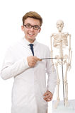 The funny doctor with skeleton isolated on white Royalty Free Stock Photos
