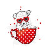 Funny dog in accessories with hearts. Vector illustration for a postcard or a poster, print for clothes. Valentine`s Day. Funny dog in accessories with hearts Stock Photography